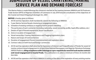 SUBMISSION OF VESSEL CHARTERING/MARINE SERVICE PLAN AND DEMAND FORECAST