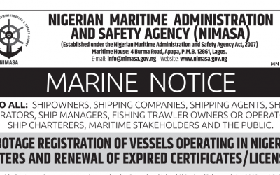 Cabotage Registration of Vessels Operating in Nigerian Waters and Renewal of Expired Certificates/Licenses